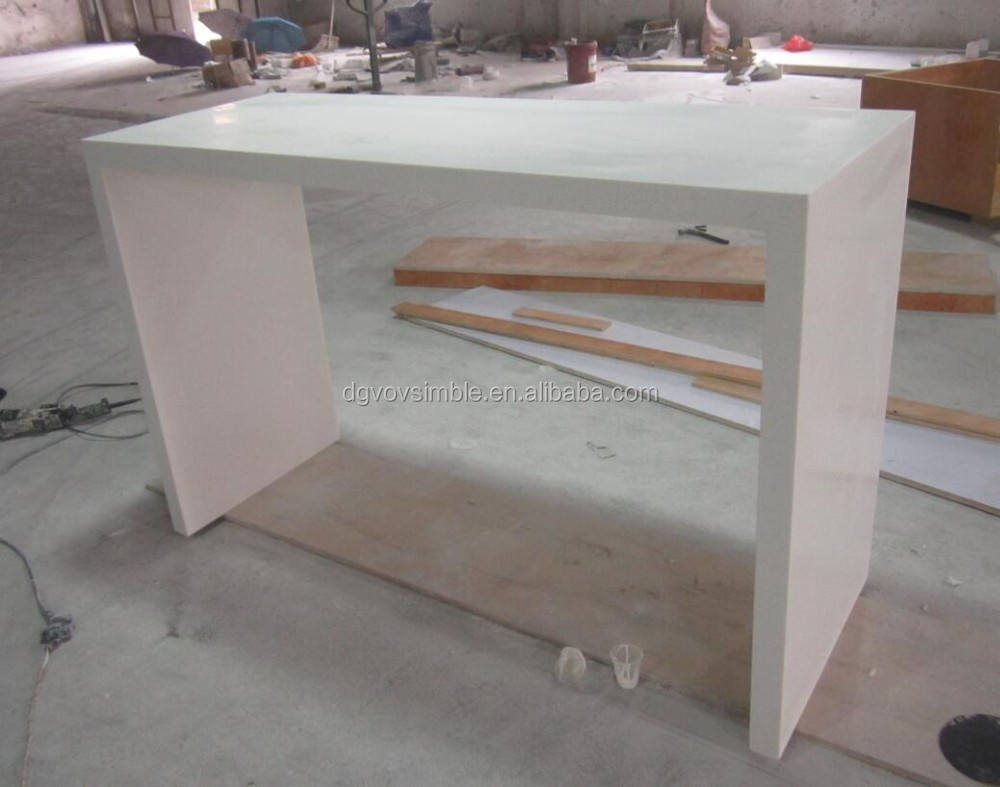 customized acrylic modified solid surface table, white artificial marble custom bar table