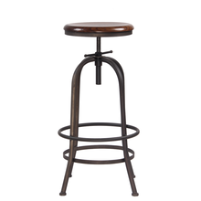 antique iron metal legs outdoor wooden plate seat adjustable swivel bar chair stool