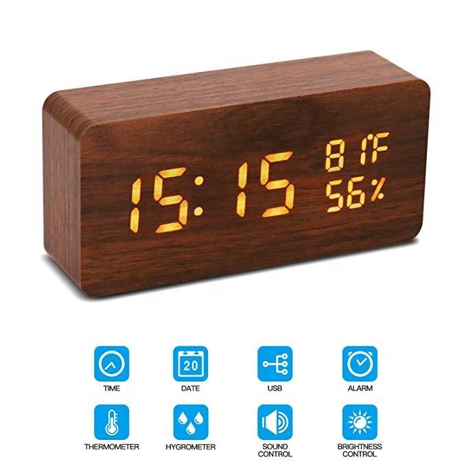 Digital Alarm Clock Wooden Desk LED Adjustable Brightness Voice Control