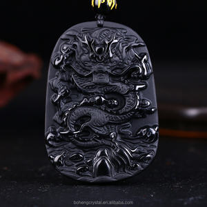Natural Black Obsidian Carving Dragon Lucky Amulet Pendant Necklace For Women Men pendants Jade Jewelry