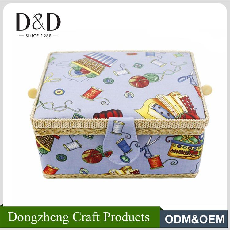 D & D de <span class=keywords><strong>moda</strong></span> tela canasta artesanal <span class=keywords><strong>casa</strong></span> caja de almacenamiento cesta de costura 25*19*13 cm con Mango