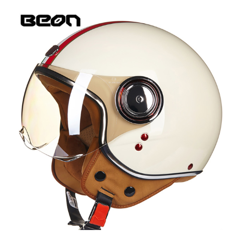 BEON ECE approved Motorcycle Helmet Chopper 3/4 Open Face Vintage Helmet Moto Casque Casco Capacete for Men Women