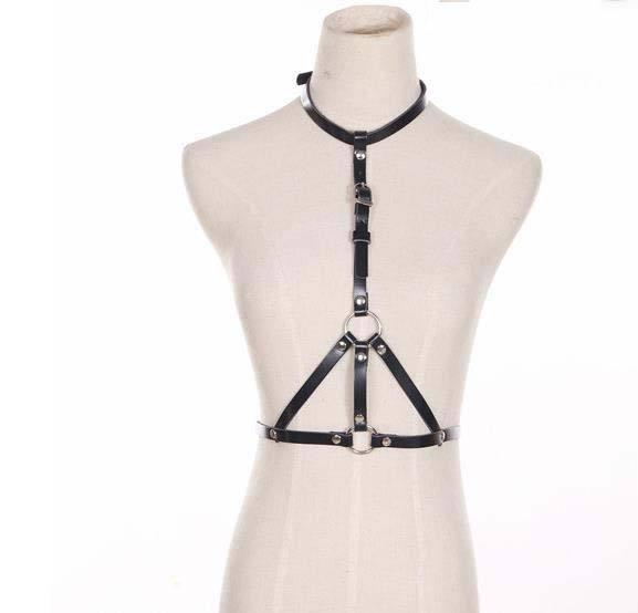 The big leather strap and nightclub personality male and female fashion belt suspender strap exaggerated