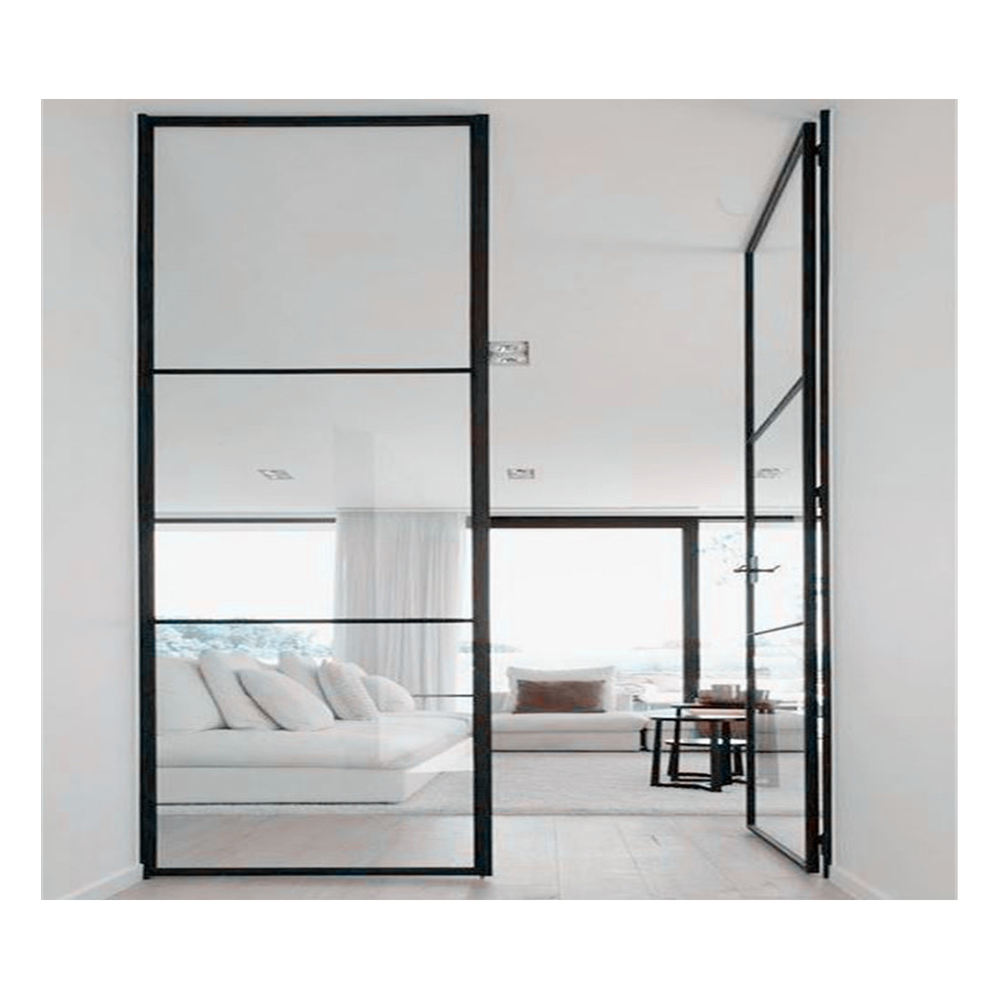 Commercial Tempered Double Glass Steel Frame Glass Doors High Grade Steel Security Window and Doors