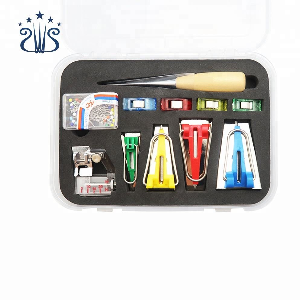 Bias Tape Maker Kit Set Binder Binding Snap on Foot Sewing Tool with 1 Presser Foot