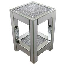 Stylish crushed diamond square home mirrored end table