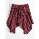 Latest Design Red and Black Plaid Sexy Asymmetrical Mini Skirts