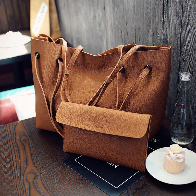 New Trendy Ladies Leather Shoulder Tote Two-piece Crossbody Bag Handbag