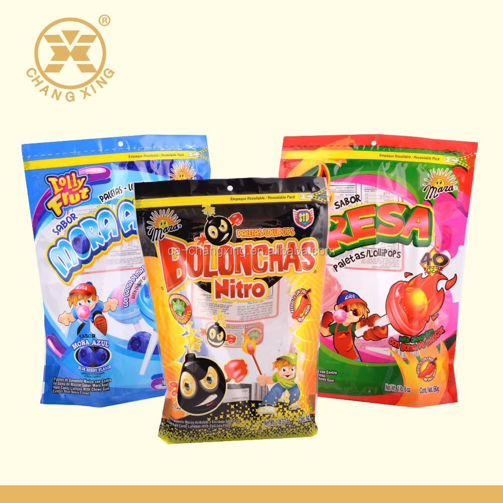 Printed Plastic Candy Bag Custom Design Zipper Plastic Bags For Packaging Stand-up Pocuh With Zipper Made In China