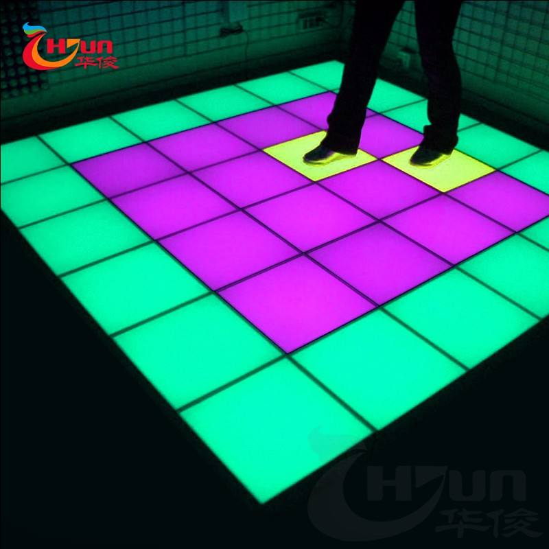 China glass touched color changing light up dance floor mat
