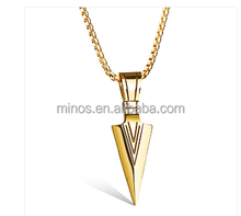 Colar Masculino Arrow Pendants Necklaces Gold Plated Stainless Steel Necklace Men Jewelry