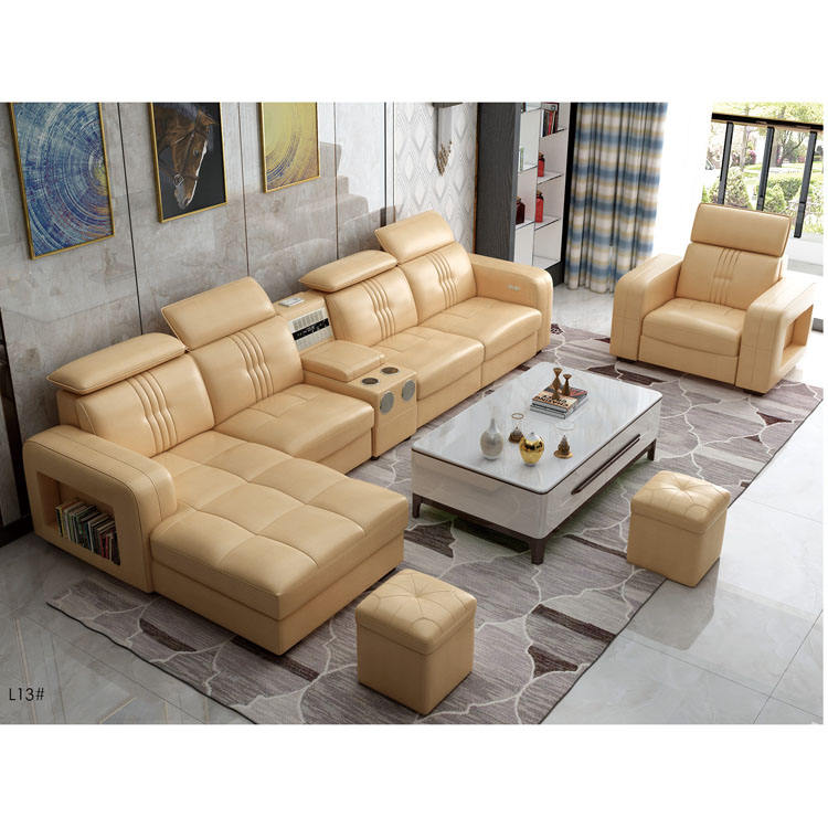 L131 wholesale heated fancy italian modern modular massage furniture living room lounge wooden big l shaped real cow leather sof