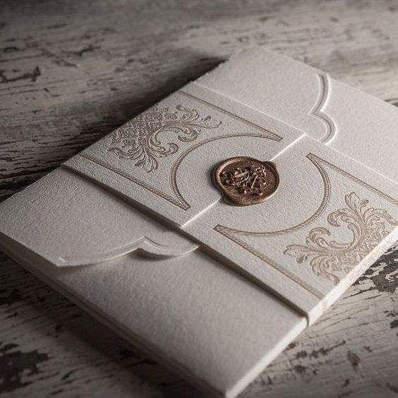 Customized Wax design wedding invitation with thick envelope