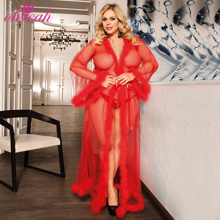 OHYEAH long sleeve red fur mesh sheer lingerie feather bride plus size lingerie robes