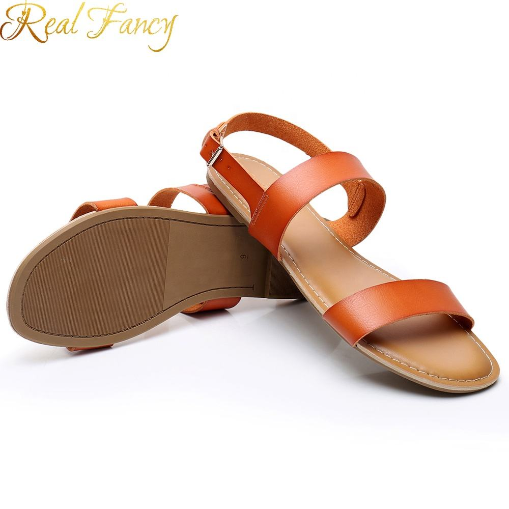 Latest Designs Summer Ladies Sandals Flat Pu leather Ankle Strap Women Sandals