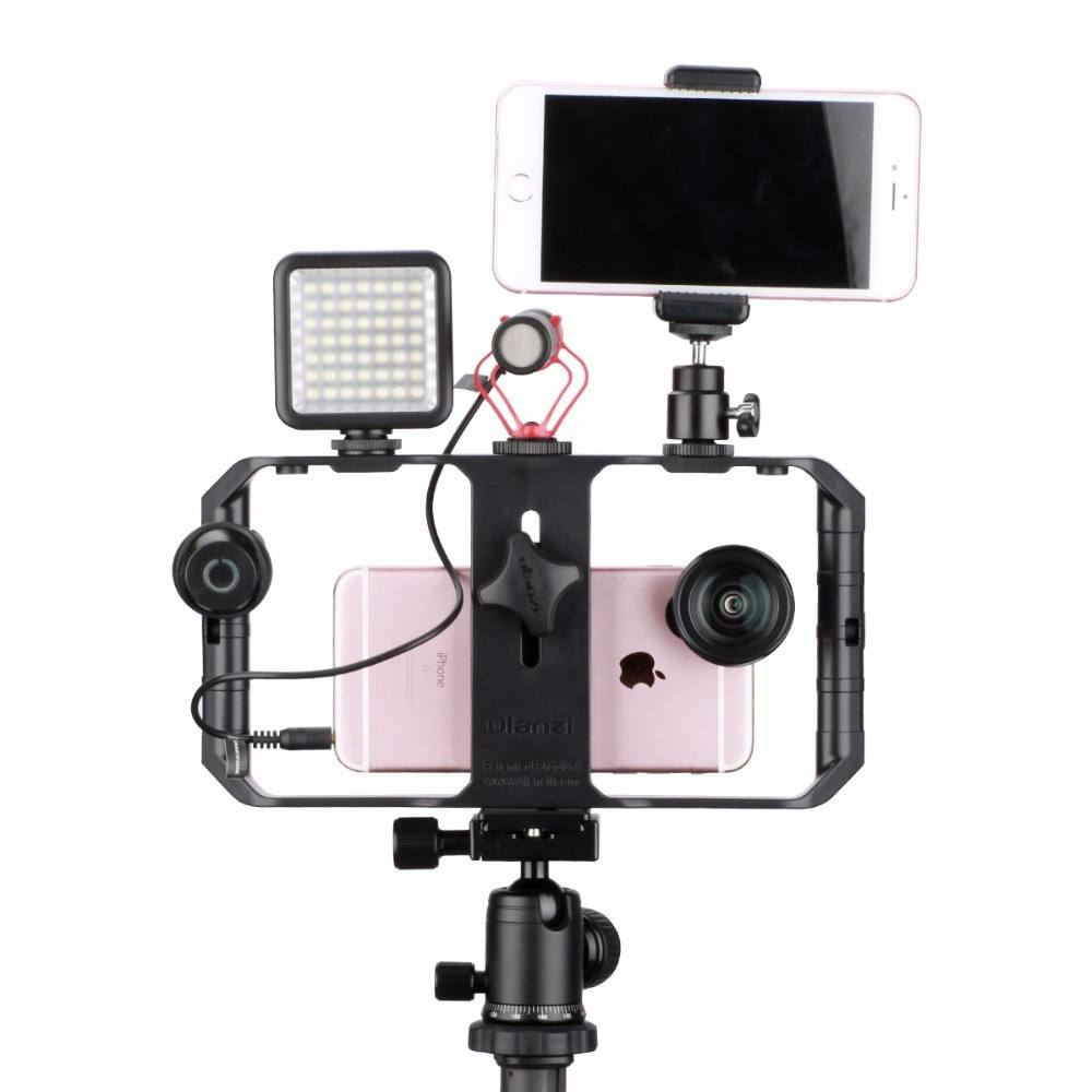 Custom U-Rig Pro Smartphone Video Rig w 3 Shoe Mounts Filmmaking Case Handheld Phone Video Stabilizer Grip Tripod Mount Stand