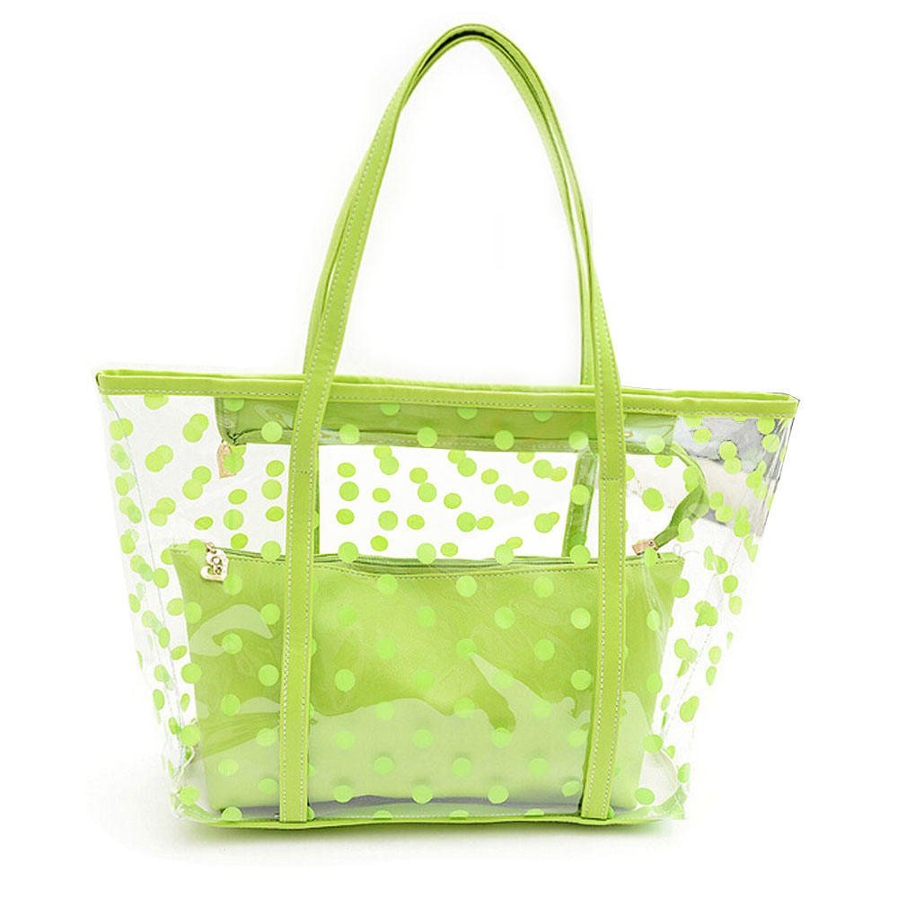 Women Fashion Luxury waterproof Jelly Tote Clear PVC Beach Bag