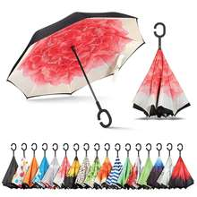 High quality Personalized windproof c handle Reverse Umbrella