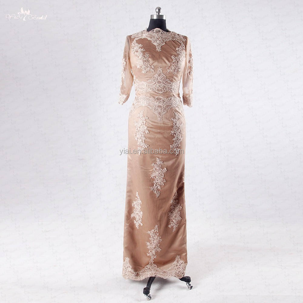 RSE713 Brown Straight Fit Dresses Mother Of The Bride Dress With Sleeves Formal Dress