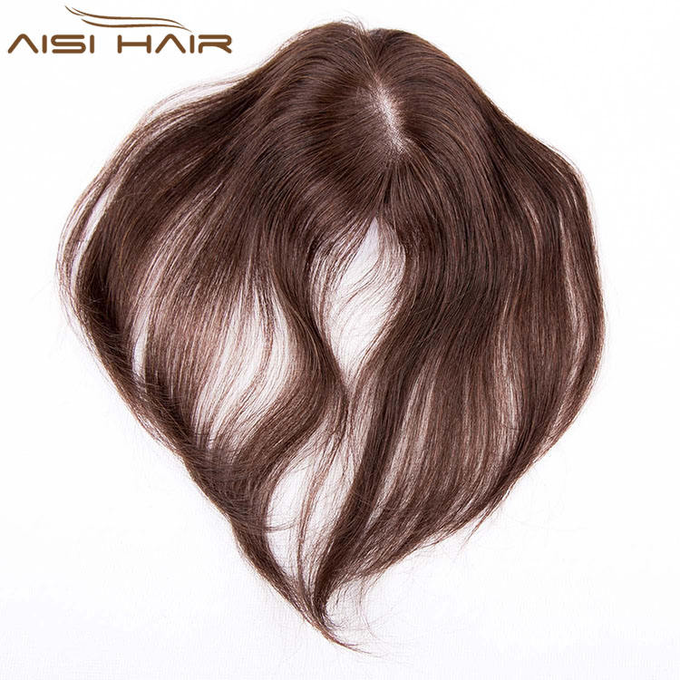 Aisi Hair Top Quality 100% Human Hair Toupee 7x10 cm Mono Lace PU Poly Around Indian Human Hair Toupee For Black Women