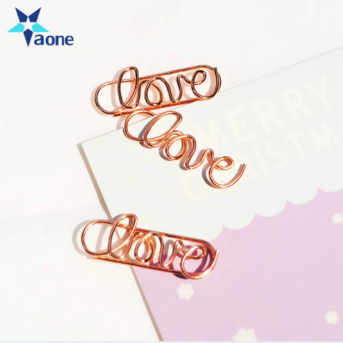 YAONE Rose Gold LOVE Letters Paper Clip Bookmark Planner Tools Scrapbooking Tools Memo Clip Metal Binder Paperclip