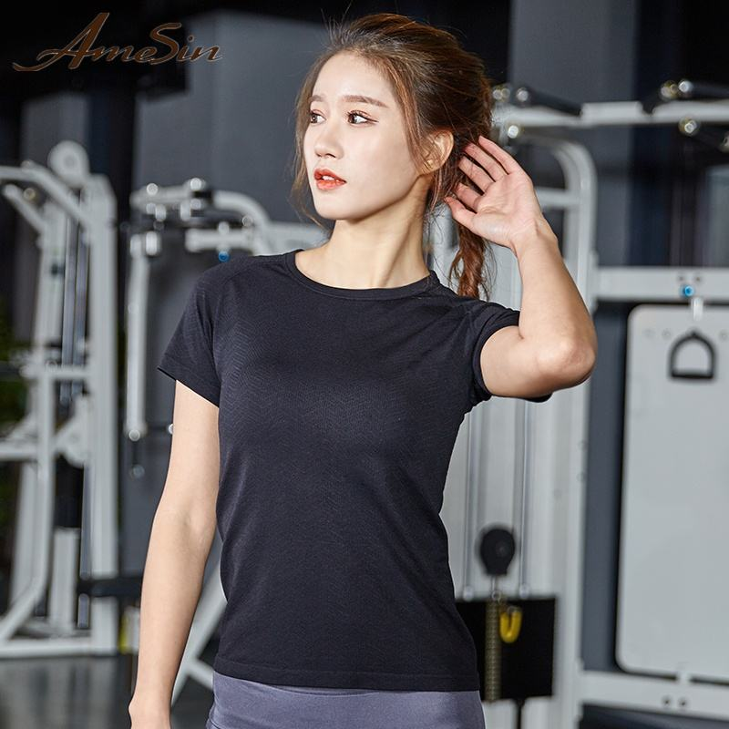 AMESIN YLT103 Activewear Private Label Camisa Esporte T Para Mulheres Cortar Top De Fitness