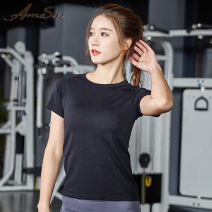 AMESIN YLT103 Activewear Private Label Sport T-shirt Voor Vrouwen Crop Fitness Top