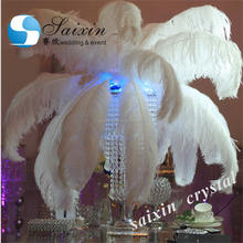 Beautiful crystal stand with ostrich feather for wedding event centerpiece ZT-218