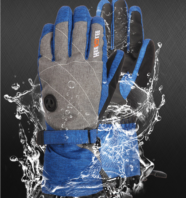 Waterproof fabric Polyester PU Leather Palm Cheap Ski Gloves /Snow Gloves