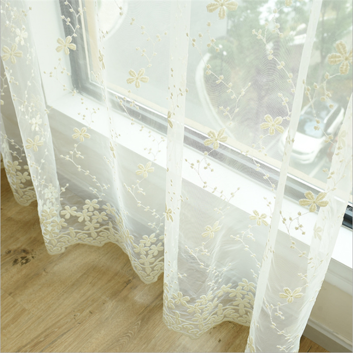 Turkey lace sheer curtains embroidery fabric for the living room