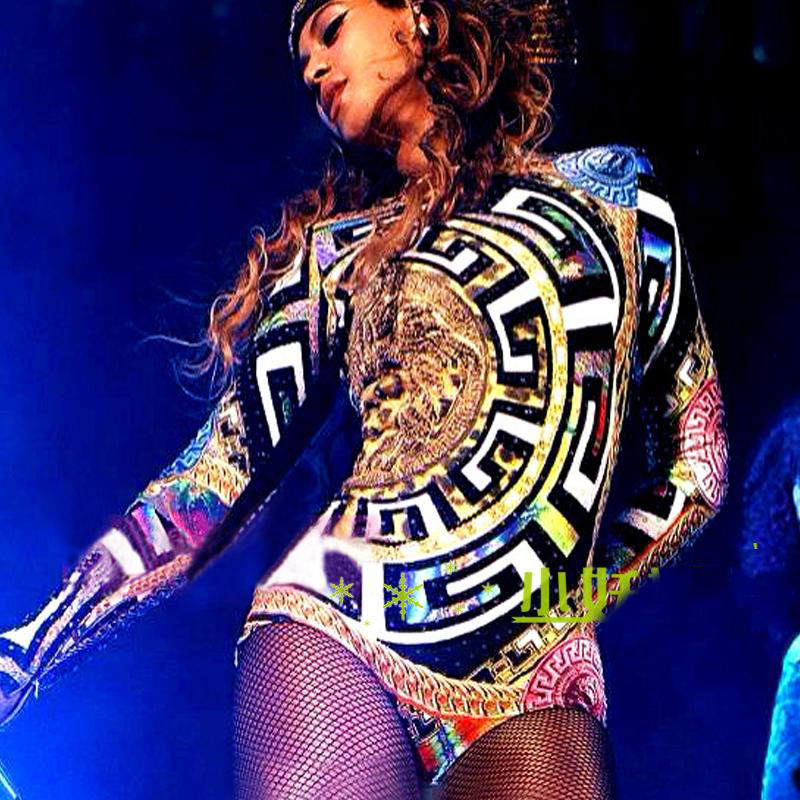 Sexy Beyonce Clothes Jazz Hip Hop Dance Costumes Sexy Nightclub Leotard Woman One Piece Jumpsuit Beyonce Stage Outfits DL3253