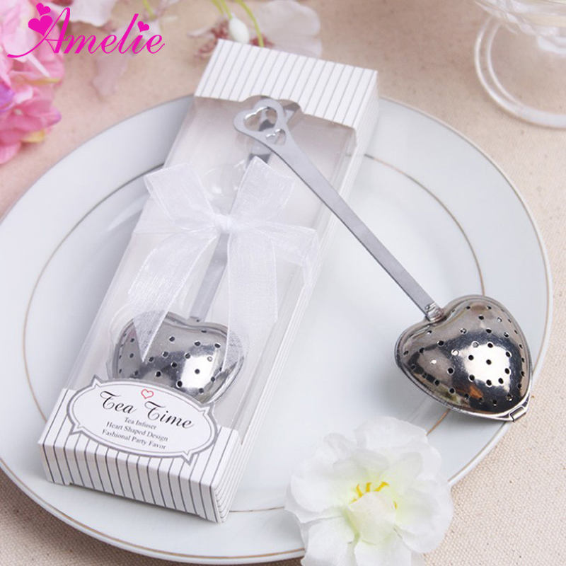 Wedding Creative Tea Tools Heart Shaped Tea Infuser Stainless Steel Spoon Strainer Steeper Wedding Guest Souvenirs Gift