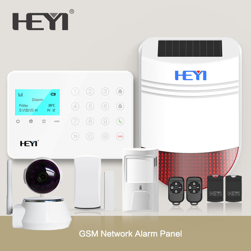 LCD Screen Home Intelligent GSM Alarm System with Wireless Wired Sensors and Detectors