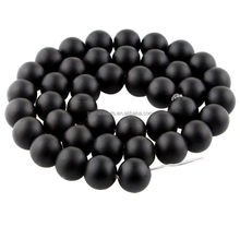Gemstone matte black onyx round beads in 16 inch loose strand