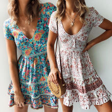 Women Fashion Floral Short Sleeve Chiffon V-neck Mini Dress Summer Clothes Print Dresses