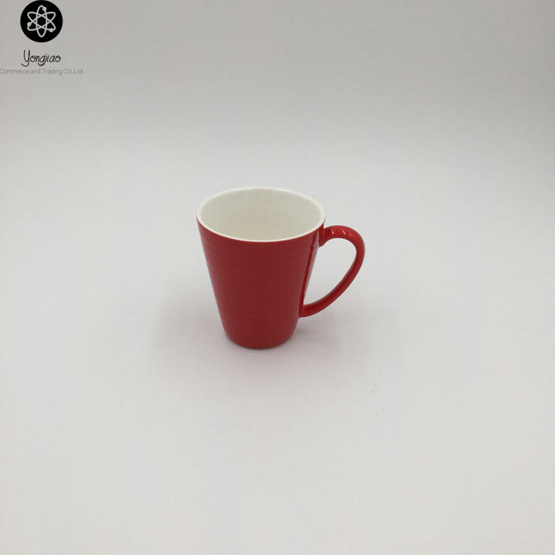 Ceramic Red Color Glazed Mug, Porcelain Coffee Mug