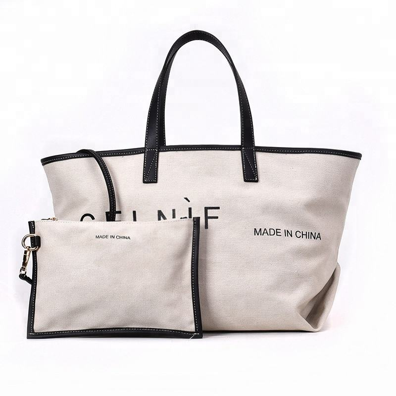 Cotton Canvas Handbags Fashion Women Large Tote Bag With Small Pouch Handbags Wholesale