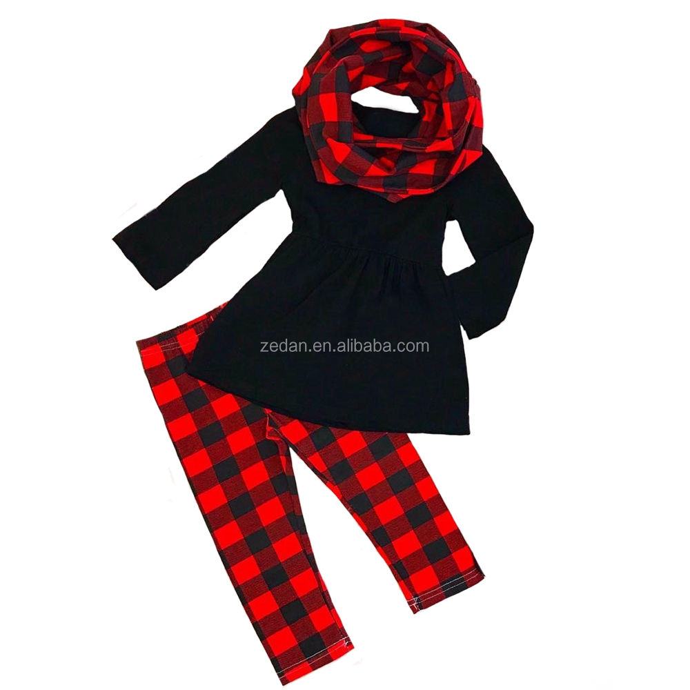 Baby girl 3 pieces Christmas baby girl sets long sleeve top and buffalo plaid matching same color scarf high quality sets