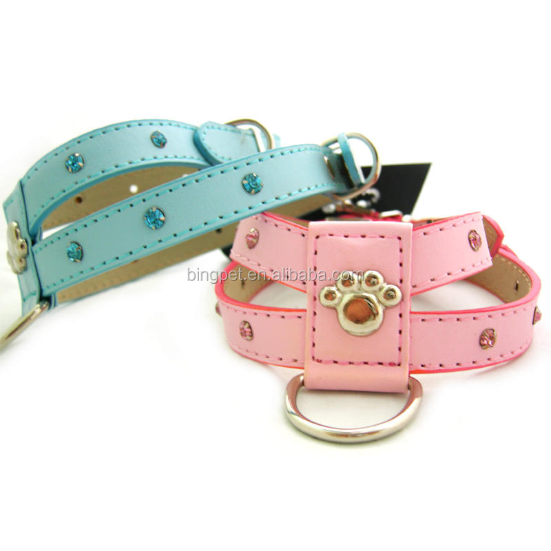 Pu Leather Dog Harness Pet Collars Crystal Pet Products