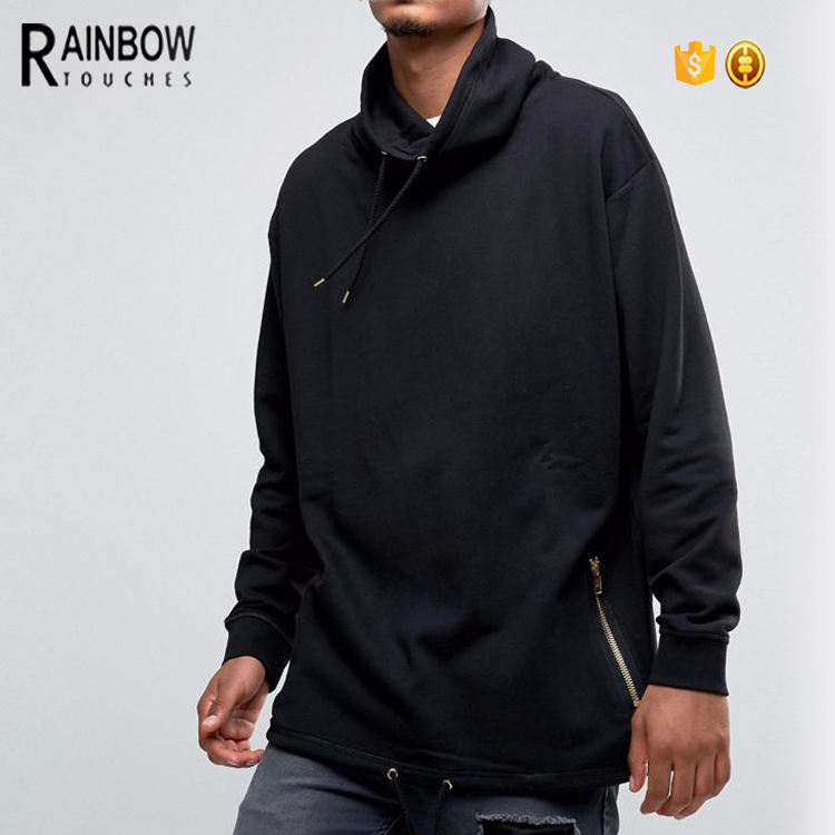 Latest Design Custom Men Pocket Sweatshirt No Hood With Drawstring Hem