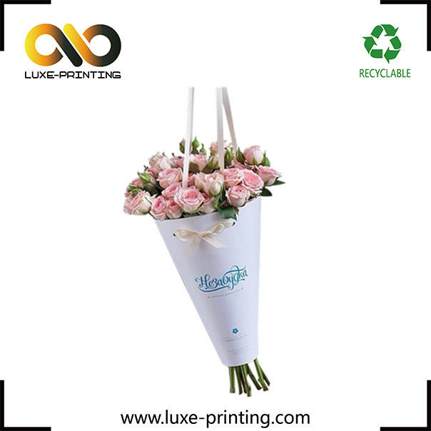 Custom decorative fresh flower retail box bouquet packaging carry bags