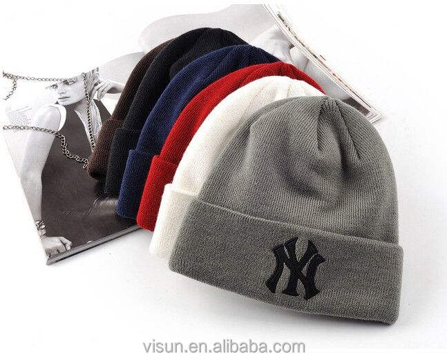yiwu cheap price American style NY new york cuff Beanie Hat
