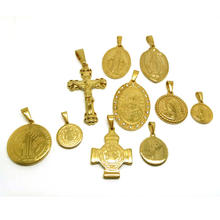 Bulk Prayer 18k Christian Jewelry Mary Gold Plated Jewelry Wholesale Cross Religious Coin Pendant