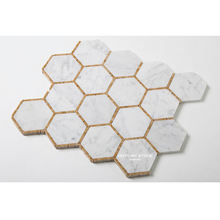 modern design century 3'' carrara mix imperial gold colored hexagon mosaic tile kitchen mosaic tile