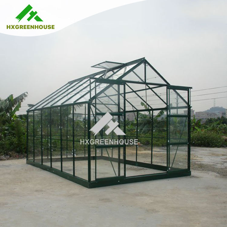 HX75126G commercial insulated tempered glass greenhouse with tempered glass