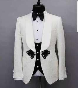made to measure wedding tuxedo men suits White Tuxedo Jacket black vest and black pant