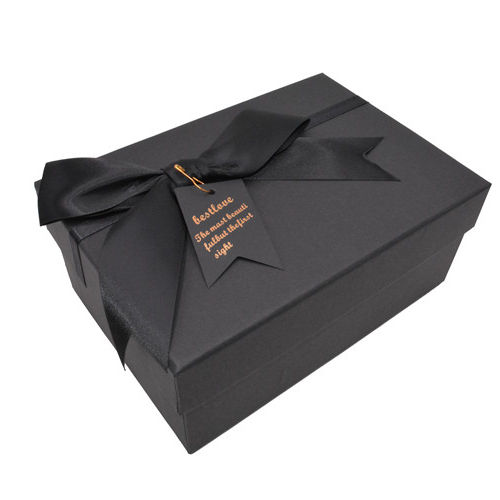 Wholesale Custom Jewelry Box Black Luxurious Gift Box Jewelry Packaging for Ring Bracelet Necklace Fancy Gift Box with Bow