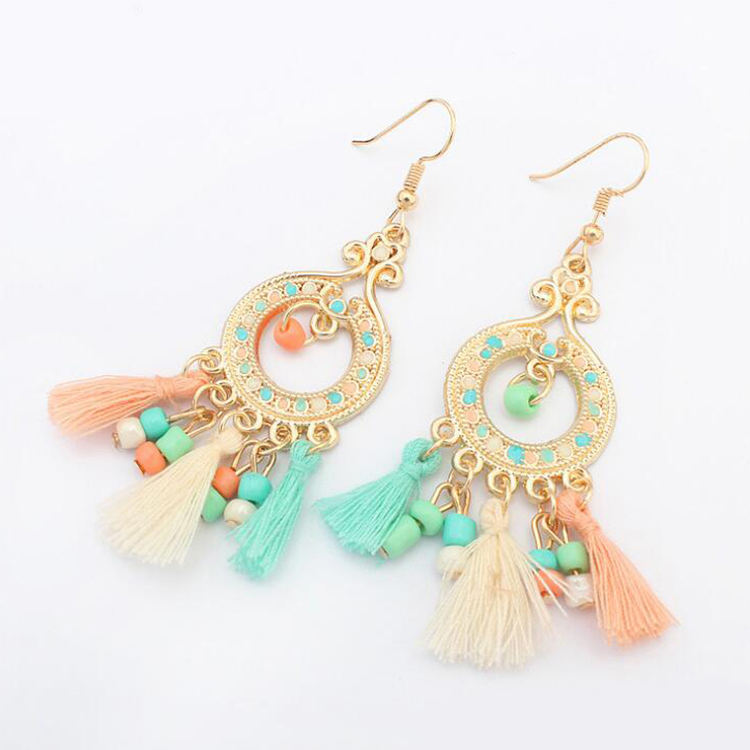 Hot Selling colorful thread tassels pendant with Plastic bead women jewelry chandelier earring