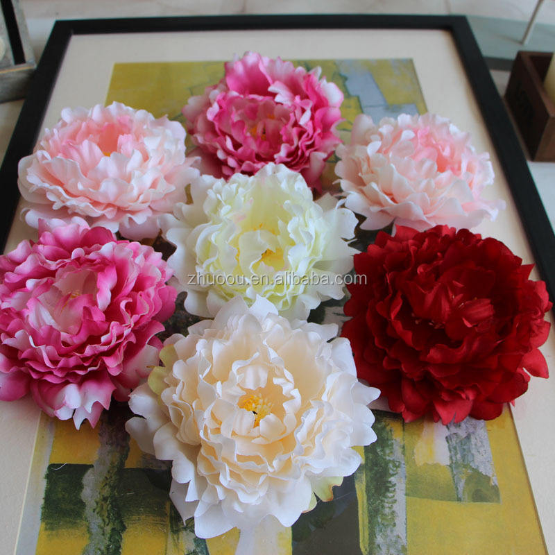 Zero Artificial flower large peony flower heads for wedding decoration