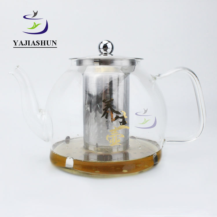 Custom 1.2lL Borosilicate Glass Heat Resistant Luxury Large Glass Tea Kettle Set Teapot